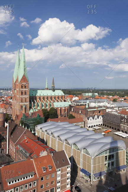 August 29, 2012: view about the old town with marien's church and city hall, Lubeck, schleswig holstein, germany
