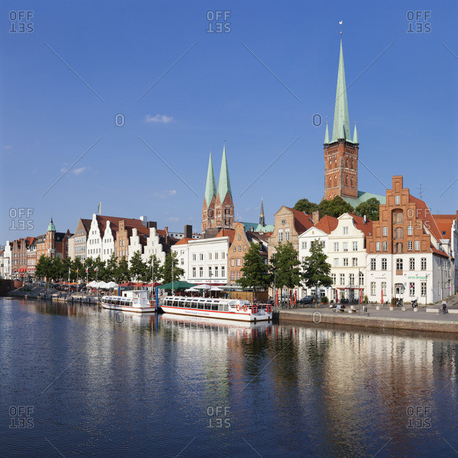 August 29, 2012: view about the stadttrave (river) on the old town of Lubeck, schleswig holstein, germany