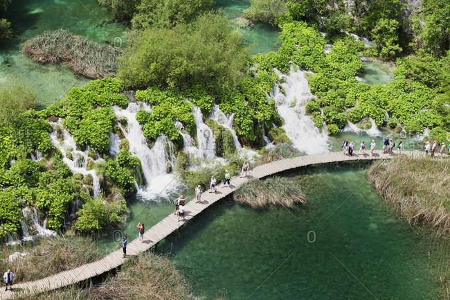 May 27, 2012: wooden jetty through the lower lakes, national park plitvicer lakes, unesco world nature heir, croatia