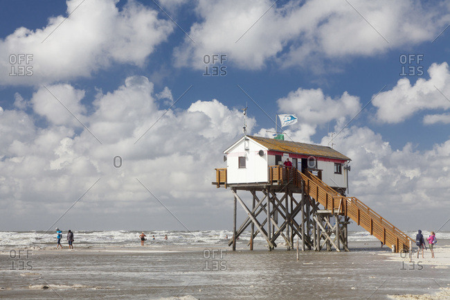 August 22, 2012: stilt house on the beach, saint peter ording, peninsula eiderstedt, nordfriesland (district), schleswig holstein, germany