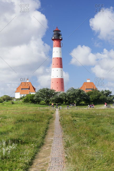 August 22, 2012: lighthouse westerheversand, westerhever, peninsula eiderstedt, schleswig holstein, germany
