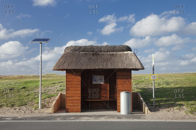 August 26, 2012: thatchede bus stop, sylt, north frisia, schleswig holstein, germany