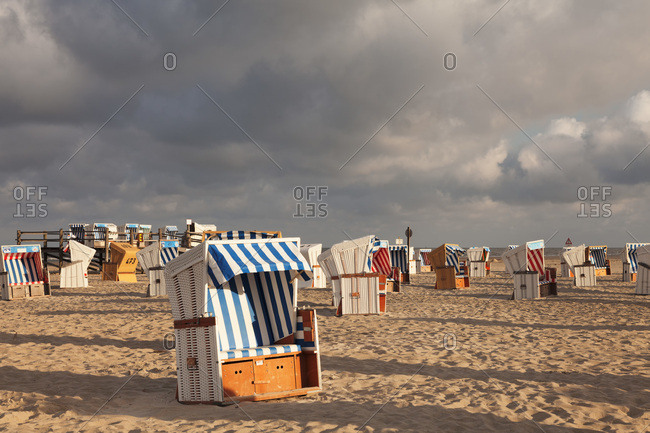 August 21, 2012: beach chairs on the beach of saint peter ording, peninsula eiderstedt, nordfriesland (district), schleswig holstein, germany