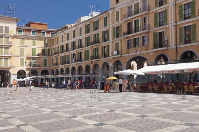 June 20, 2014: restaurants and street cafes at placa major, palma de majorca, majorca, the balearic islands, spain
