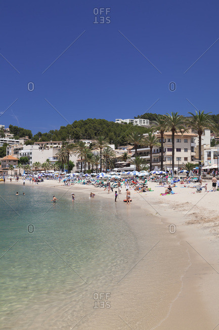 June 17, 2014: town beach playa d'es traves and promenade passeig es traves, port de soller, majorca, the balearic islands, spain