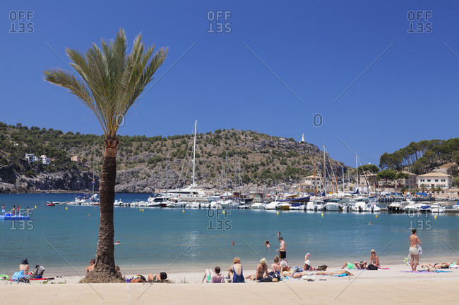 June 17, 2014: town beach and yacht harbor, port de soller, majorca, the balearic islands, spain