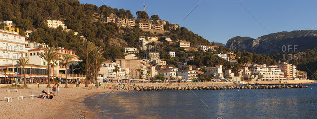 June 15, 2014: town beach of port de soller, majorca, the balearic islands, spain