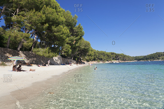 June 12, 2014: beach platja de formentor, cala pi de la posada, majorca, the balearic islands, spain