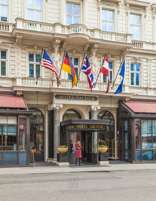 July 28, 2016: austria, vienna, city center, hotel sacher, five-star hotel