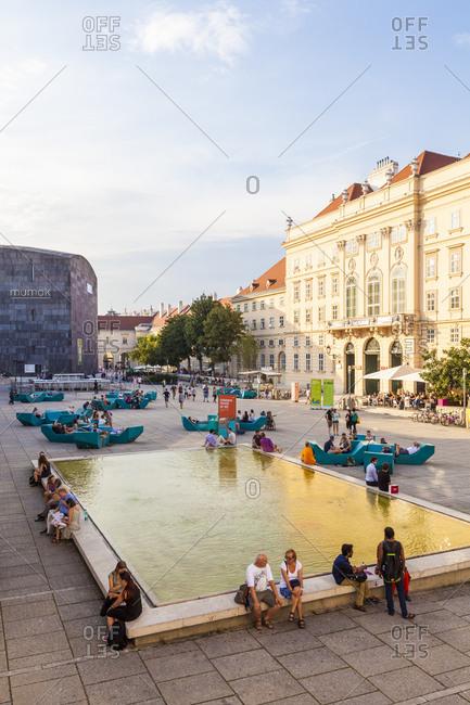 July 26, 2016: austria, vienna, museumsquartier, mq, inner courtyard, different museums, mumok, museum of modern art, restaurant, bars