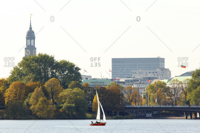 October 22, 2013: view from the alster steamboat on the kennedy bridge in hamburg.