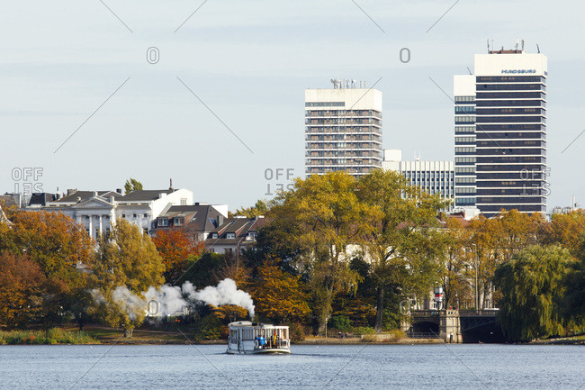 October 22, 2013: view from the alster steamboat on the mundsburg high rises.