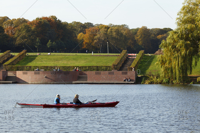 October 22, 2013: town park and town park lake in winterhude.