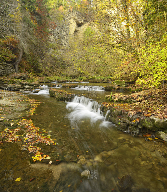 Germany, baden-wurttemberg, epfendorf, schlichemtal, schlichemklamm, colorful autumn foliage on rimestones / gours in the course of a river of the schlichem
