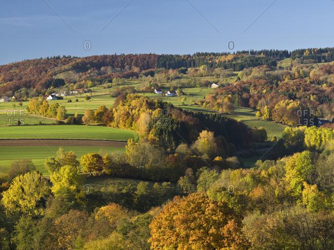 Germany, hessia, hessian Rhon nature reserve, unesco biosphere reserve, view over the autumn-colorful Rhon to sandberg close gersfeld