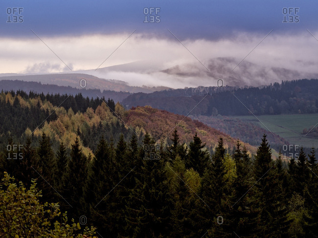 Germany, hessia, hessian Rhon nature reserve, unesco biosphere reserve, morning mood with fog on the wasserkuppe