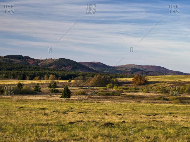 Germany, bavaria, Rhon biosphere reserve, unesco biosphere reserve, long Rhon nature reserve, autumn on the high Rhon, view from the heidelstein to the himmeldunkberg