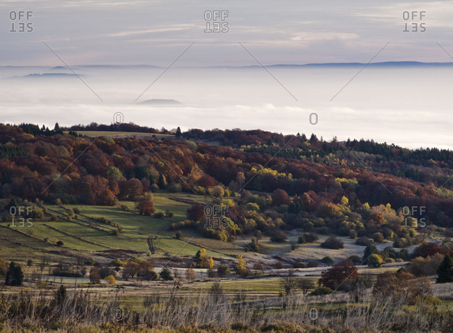 Germany, bavaria, Rhon biosphere reserve, unesco biosphere reserve, long Rhon nature reserve, autumn on the high Rhon, looking into thuringian Rhon, valley fog