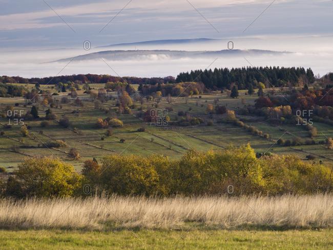 Germany, bavaria, Rhon biosphere reserve, unesco biosphere reserve, long Rhon nature reserve, autumn on the high Rhon, looking into ellenbogen in the thuringian Rhon, valley fog