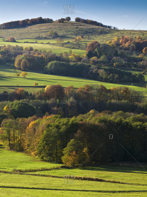 Germany, hessia, hessian Rhon nature reserve, unesco biosphere reserve, view over the autumn-colorful Rhon to the mathesberg close w�stensachsen (district)