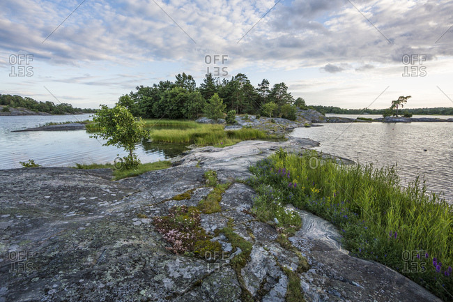Sweden, skerry, tryislot, island with vegetation