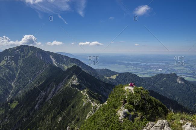 Germany, bavaria, bavarian alps, kochel, view at the ridge between herzogstand and heimgarten