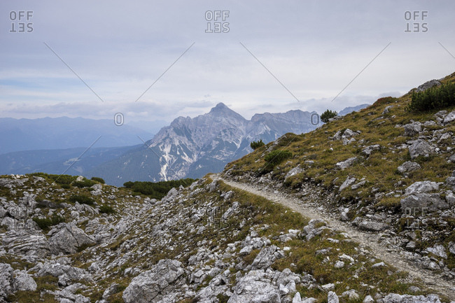 Austria, tyrol, the stubai alps, neustift, panoramic footpath between kreuzjoch and starkenburger hut with view at the serles