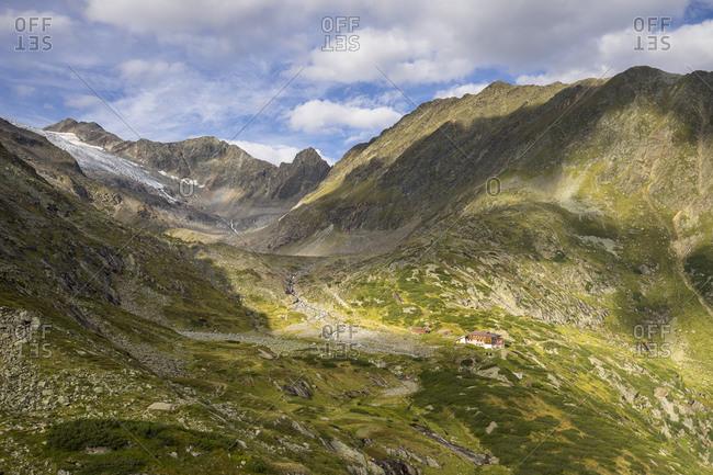Austria, tyrol, the stubai alps, neustift, view at the sulzenauhutte and the surrounding mountain world