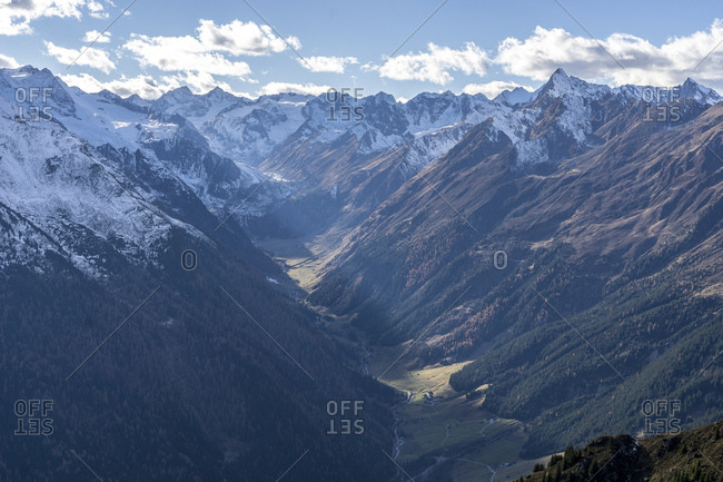Austria, tyrol, the stubai alps, neustift, view of the starkenburger hut on the upper mountain valley and the surrounding mountains
