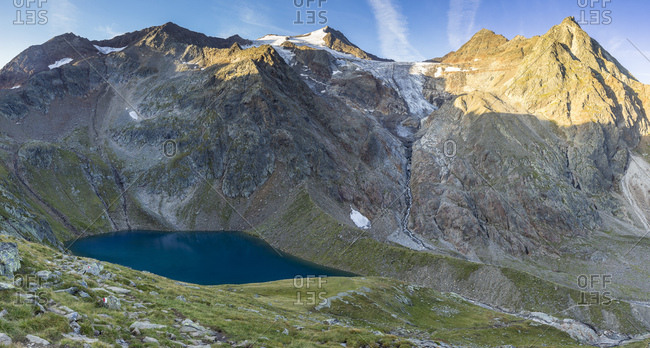 Austria, tyrol, the stubai alps, neustift, panorama with grunausee and wilder freiger in summer