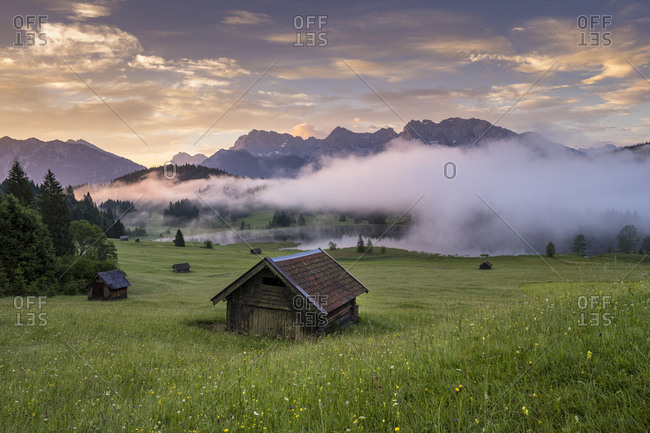 Germany, bavaria, karwendel, gerold, morning mood in the geroldsee in the alp world karwendel