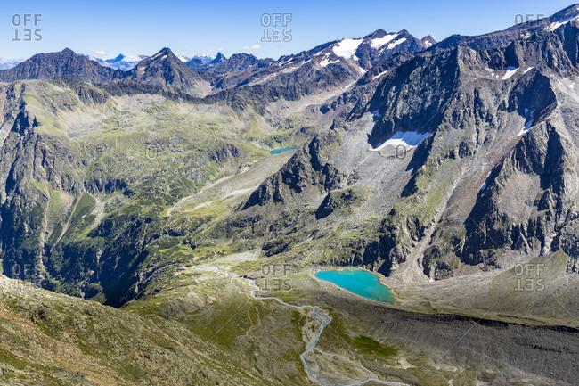 Austria, tyrol, the stubai alps, neustift, view of the grosser trogler on the mountain world all around the sulzenauhutte