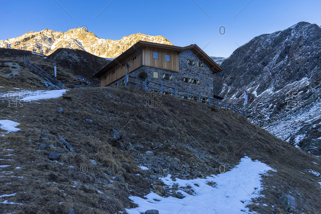 Austria, tyrol, the stubai alps, gries in the sulztal, amberger hut in the sulztal in the evening light