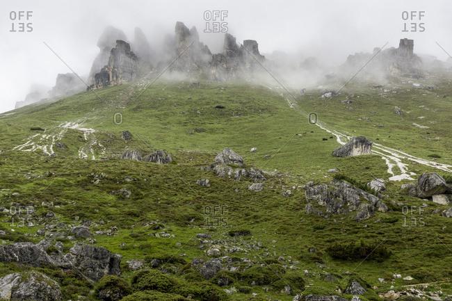 Austria, tyrol, the stubai alps, neustift, fog in the hiking region of the elferspitze