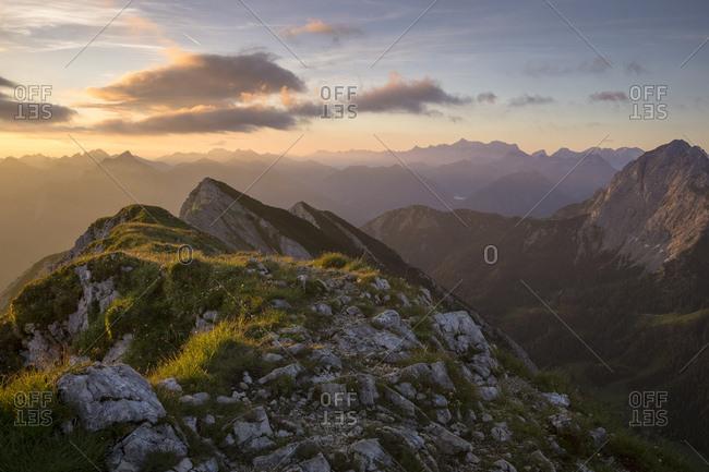 Austria, tyrol, allguer alps, tannheimer mountains, sunrise on the grosse schlicke