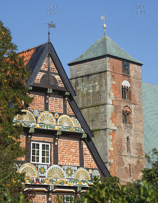 Ackerburgerhaus'  with cathedral, verden, lower saxony, germany,