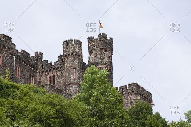 Reichenstein castle close trechtingshausen, trechtingshausen, unesco world cultural heritage upper middle rhine valley, rhineland-palatinate, germany,