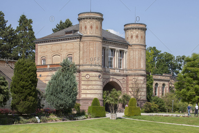 Archway building of the orangery in the botanical garden, karlsruhe, baden-wurttemberg, germany