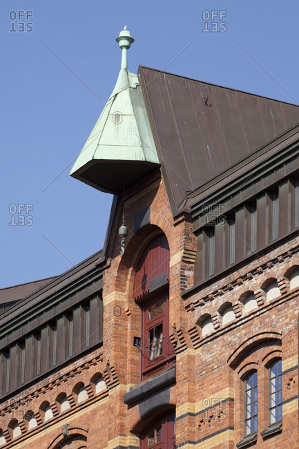 Historical warehouse, gable with crane, speicherstadt / warehouse district, hamburg, germany