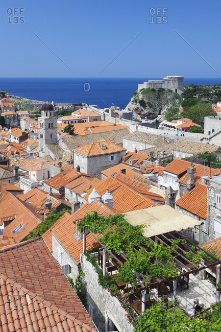 View about the old town to the fort bokar, dubrovnik, dalmatia, croatia