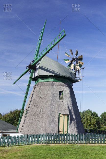 Smock mill, fog, amrum, north frisia, schleswig holstein, germany