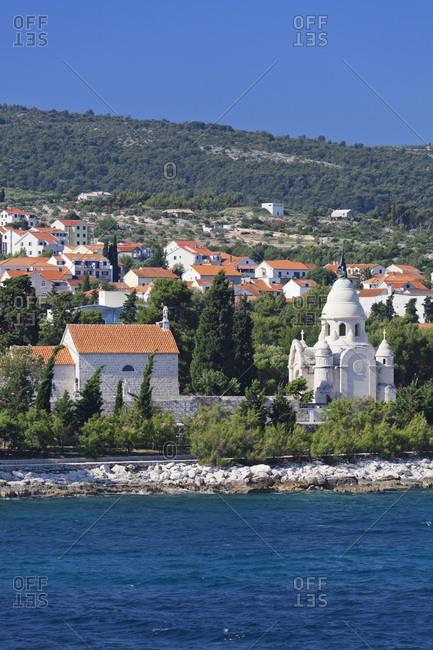 Mausoleum in the cape sv. nicholas, supetar, island brac, dalmatia, croatia