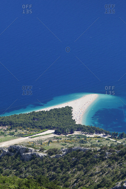 Beach zlatni advise (the golden horn), bol, island brac, dalmatia, croatia