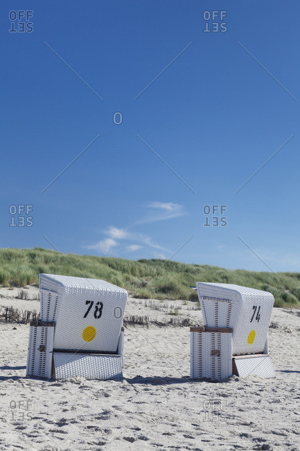 Beach chairs on the beach of kampen, sylt, north frisia, schleswig holstein, germany