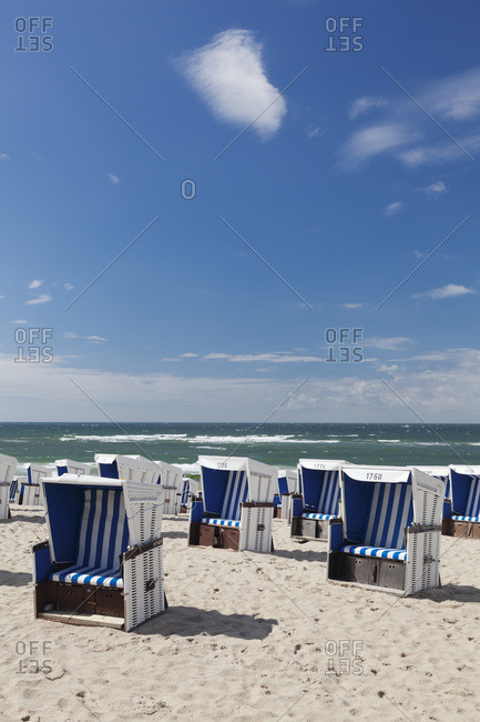 Beach chairs on the beach of westerland, sylt, north frisia, schleswig holstein, germany