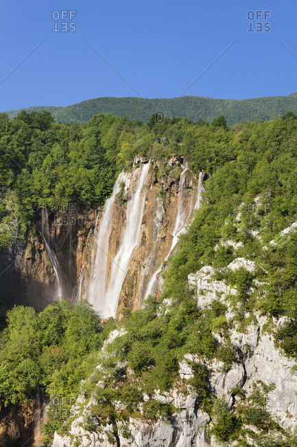 Waterfall veliki slap, national park plitvicer lakes, unesco world nature heir, croatia