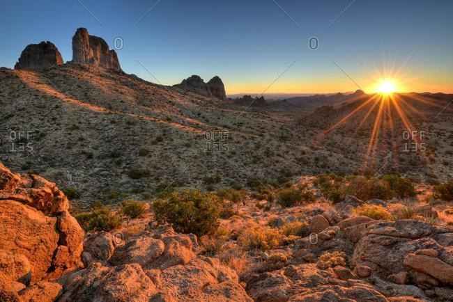 Mojave National Preserve at sunrise, San Bernardino, California, USA