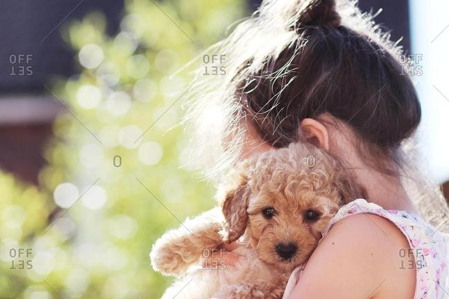 Young girl standing in the garden cuddling her puppy dog