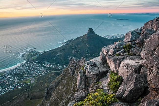 Aerial view of Lion's Head and Cape Town from Table Mountain, Western Cape, South Africa