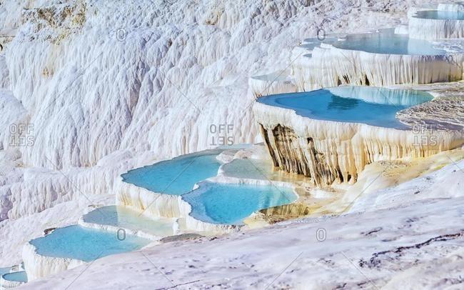 Travertine terrace formations, Pamukkale, Denizli, Turkey